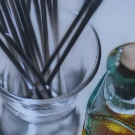 glass, art, airbrush, photorealistic, canvas, painting, cotton swab, close up, still life, perfume, tamas mike <img src='assets/img/sold.png' />