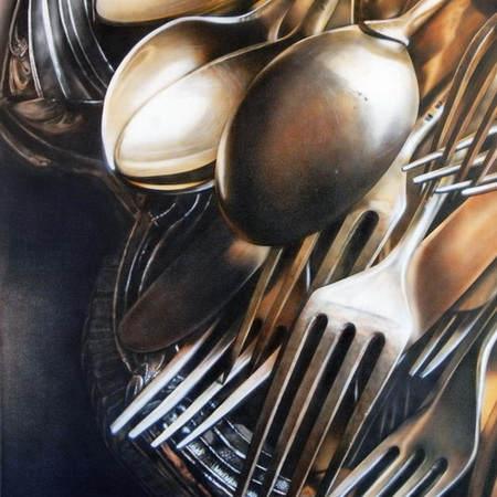 silver, gray, fork, spoon, vintage, airbrush, art, photorealistic, canvas, handmade, painting, cutlery, knife, tray, still life, tamas mike <img src='assets/img/sold.png' />