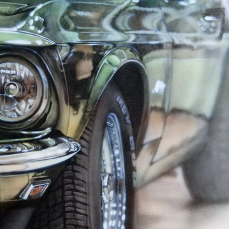 car, USA, Ford, Mustang, vintage, old timer, green, Shelby, garage, art, airbrush, canvas, handmade, painting, photorealistic, detail, workshop, tamas mike <img src='assets/img/sold.png' />