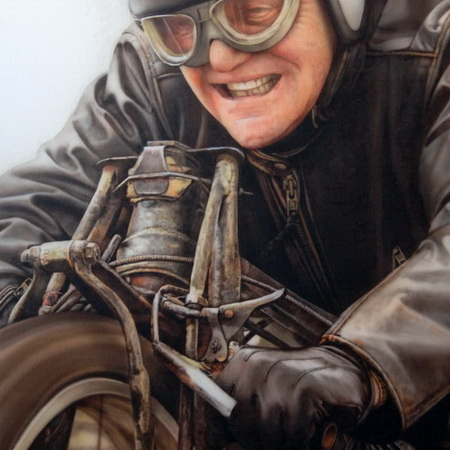bike, motor, vintage, Burt Munro, Anthony Hopkins, Indian, fast, speed, world record, Bonneville, art, airbrush, canvas, handmade, photorealistic, old timer, movie, painting, portrait, racing, motorcycle, biker, tamas mike <img src='assets/img/sold.png' />