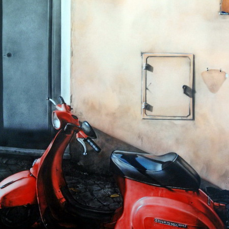 Italy, Mediterranean, still life, handmade, art, airbrush, canvas, photorealistic, painting, Rome, Vespa, rd, scooter, antique, wall, autumn, bike, motorcycle, tamas mike <img src='assets/img/sold.png' />