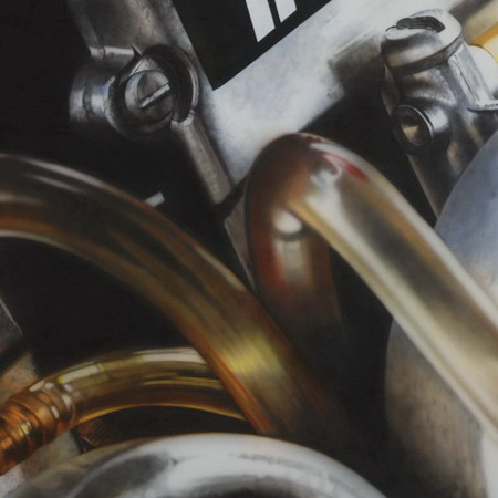 motor, engine, close up, art, airbrush, canvas, handmade, painting, photorealistic, carburettor, aluminium, racing, motorcycle, tamas mike